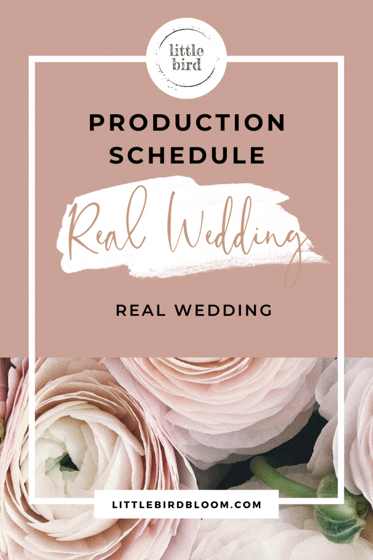 example production schedule for a real wedding